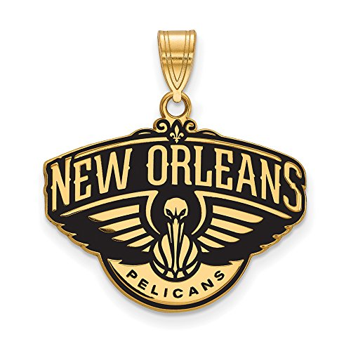 NBA 14k Yellow Gold Plated Sterling Silver New Orleans Pelicans Large Logo Pendant by LogoArt