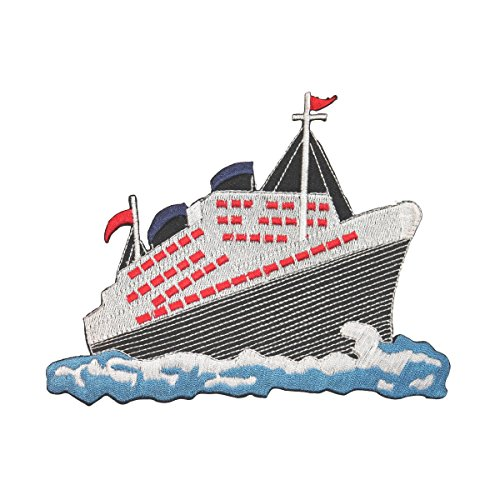 ID 5068 Cruise Ship Large Patch Liner Boat Ocean Embroidered Iron On Applique