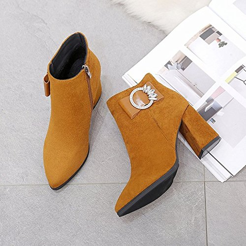 for Black ZHZNVX Boots Toe Round PU Yellow Chunky Women's Winter Red Bowknot Calf Heel Boots Shoes HSXZ Combat Mid Red Boots Casual SYwSRraq