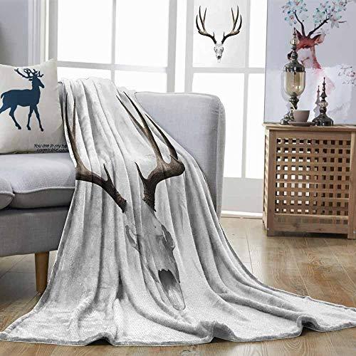 Zmstroy Living Room/Bedroom Warm Blanket Antlers A Deer Skull Skeleton Head Bone Halloween Weathered Hunter Collection Warm Taupe Light Grey Print Summer Quilt Comforter W40 xL60 -