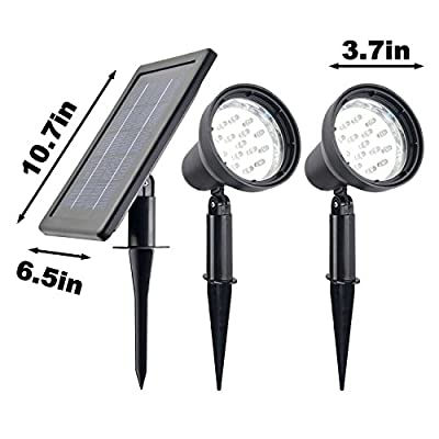 Robust Solar Spotlights (Set of 2) // HUGE 3W Solar Panel // DOUBLE CAPACITY 4000mAh Lithium Battery // HEAVY DUTY 2X15 LED Spotlights - 2X16 Ft Cable - POWER ADJUSTABLE - Optional EXTENSION Cable