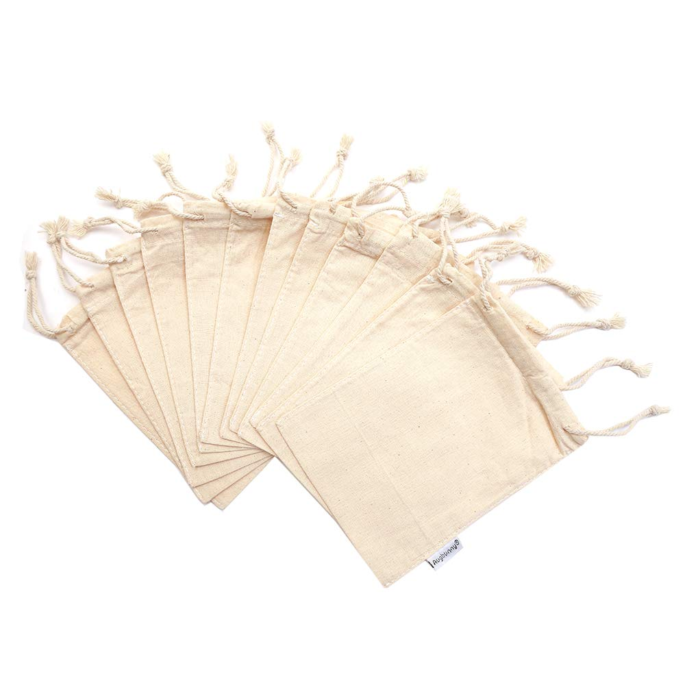 Augbunny 100% Cotton 5- by 7-Inch Muslin Bags with Drawstring, 12-Pack by Augbunny (Image #3)