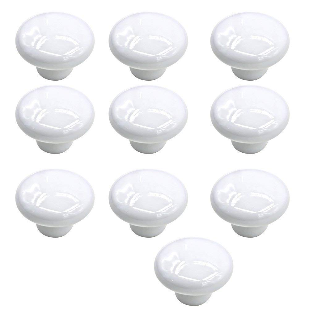 Mallofusa 32mm Cabinet Ceramic Round Pull Knobs for Drawer Dresser Kitchen Wardrobe Handles 10 PCS White