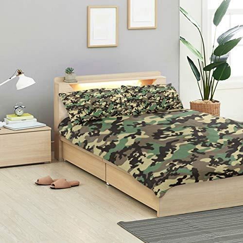 LONSANT Classic Duvet Cover Set Classic Woodland Camo Pattern Repeatable Design Bedding Decoration King Size 3 PC Sets 1 Duvets Covers with 2 Pillowcase Microfiber Bedding Set Bedroom Decor Accessori ()