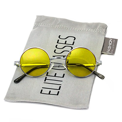 John Lennon Hipster Fashion Sunglasses Small Metal Round Circle Elton Style (Yellow, - Women For Fashion Hipster
