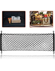 Trobo Trunk Storage Organizer For Car, Stretchable Cargo Organizer For Trunk, SUV, Cars, Vans, Trucks And Jeeps, Heavy Duty Adjustable Elastic Mesh Storage Auto Hanging Net Bag with 3 Mounting Options