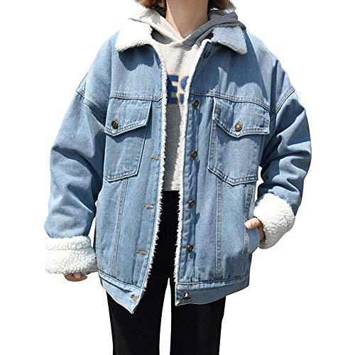 Chaud Polyester Femme Denim Epais Coton Bleu Jean Veste Jeans En zWwf6nq5O