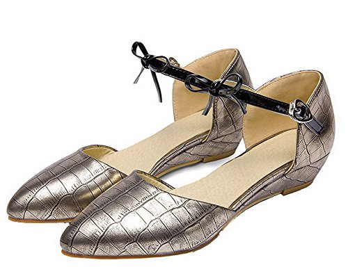 VogueZone009 Women's Solid Buckle Upper Leather Pointed Closed Toe Court Shoes Gold VG0qjo8KW