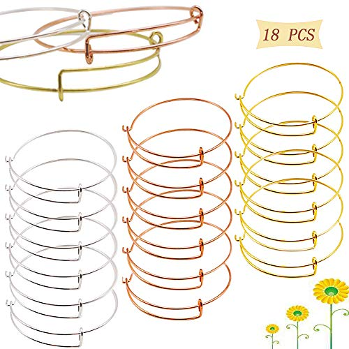 18PCS Expandable Bangle Bracelet, Adjustable Wire Blank Bracelet Expandable Bangle for DIY Jewelry Making, Silver, Gold and Rose -