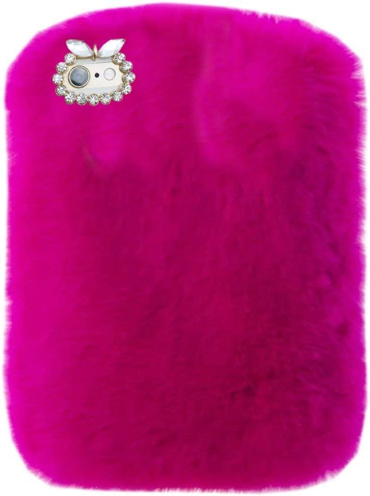 "Super Deluxe Luxury Winter Fashion Bling Rhinestone Fuzzy Faux Rabbit Furry Fluffy Beaver Rex Rabbit Fur Protective Case for Lenovo Tab 2 A10-70F/ Tab 3 TB3-X70L 10.1 ""(Rose)"