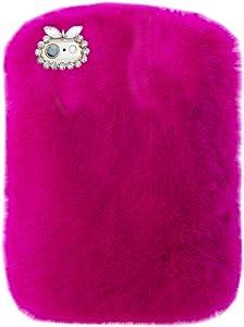 "Super Deluxe Luxury Winter Fashion Bling Rhinestone Fuzzy Faux Rabbit Furry Fluffy Beaver Rex Rabbit Fur Protective Case for Lenovo Tab 2 A10-70F/ Tab 3 TB3-X70L 10.1 ""(Rose)"