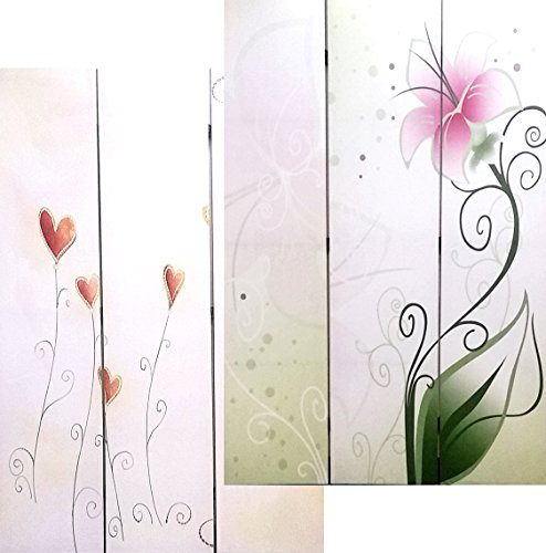 - Bellaa Double Sided Painted Canvas Room Divider Screen 3 Panels