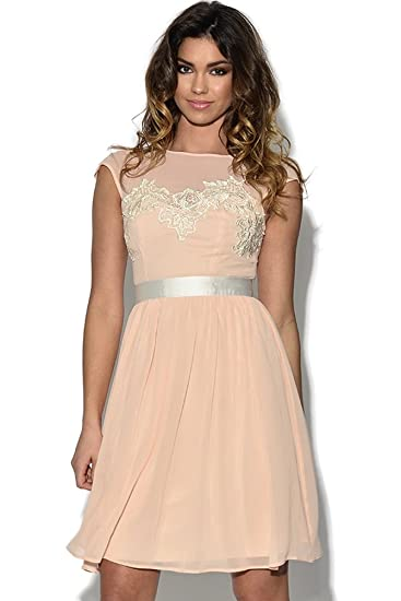 Vestry Lace Bust Nude Prom Dress