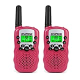 BaoFeng T-3 Kids Walkie Talkie Two Way Radio (1 Pair), Pink + SainSonic Velvet Bag