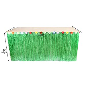 DrCosy Hawaiian Party Table Skirts, Artificial Grass Tablecover with Tropical Accessories for Party Wedding Carnival 108