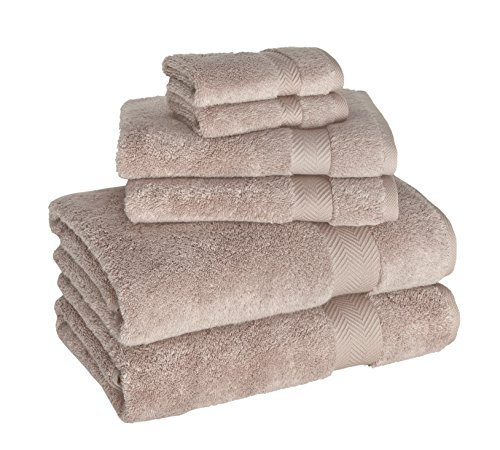 Luxury Bath Towel Collection Set - Ultra Absorbent and Plush Complete Towel Set With Elegant Dobby Design - Made with 100% Turkish Cotton (Beige) (Bath Collections Sets)