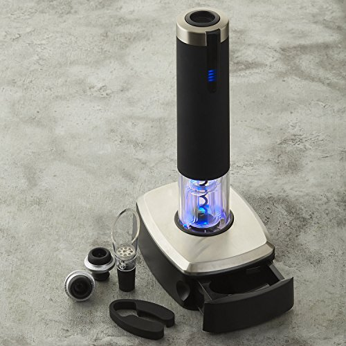 Wine Enthusiast Electric Blue 1 Automatic Wine Opener & Preserver Set with Pedestal (6 Piece)
