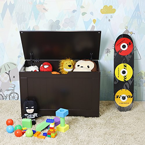 SONGMICS Lift Top Entryway Storage Chest/Bench with 2 Safety Hinge, Wooden Toy Box, Espresso, ULHS11BR