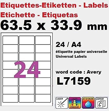 100 A4 de hoja de etiqueta de papel etiqueta adhesiva 24 63 ...