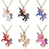 Unicorn Necklace - Set of 6 Enamel Rainbow Unicorn Necklace Europe and America Cute Animal Necklace Jewelry for Girl