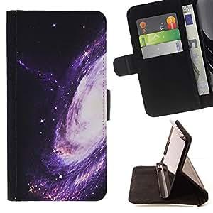 For Samsung Galaxy S4 Mini i9190 (NOT S4) Case , Camino púrpura Espacio Universo Cosmos- la tarjeta de Crédito Slots PU Funda de cuero Monedero caso cubierta de piel