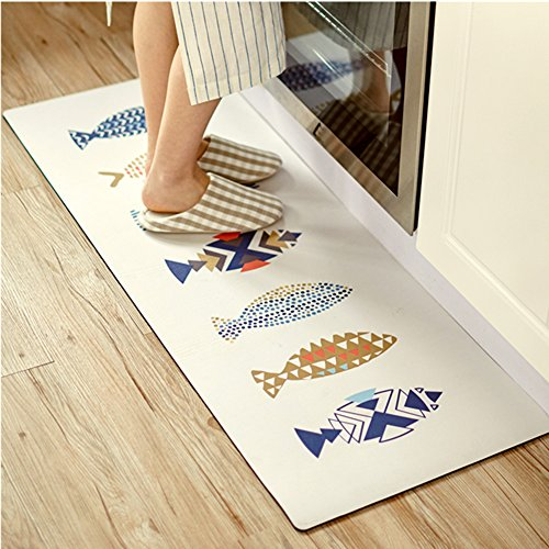 Ukeler Kitchen Rug,Washable Kitchen Floor Rug Non-slip Runner Bath Mat Morden Fish Pattern Carpet Abosrbent Doormats,17.7''×31.5'', Fishes