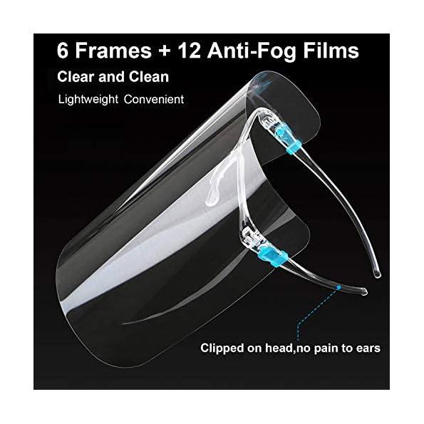 HONYAO-Transparente-GesichtsschutzVisier-fr-Frauen-und-Mnner-knnen-gereinigt-Schutzvisier-FaceShield-Visier-ausgetauscht-und-wiederverwendet-Werden-6-Brillengestelle-12-Visier