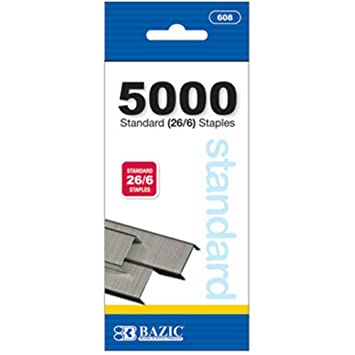 Standard (26/6) Staples - 5000 Ct (Pack of 6)