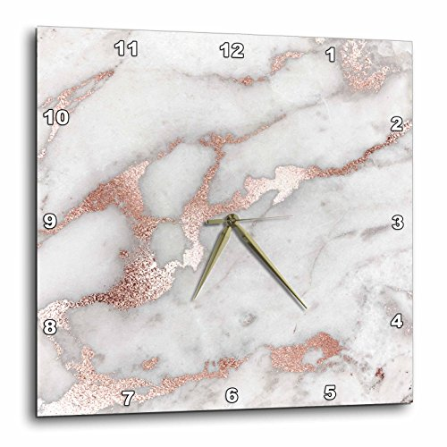 3dRose Image of Chic Gray Trendy Copper Rose Gold Marble Agate Gemstone Rock Quartz 10 by 10 inches Wall Clocks, 10x10, Clear