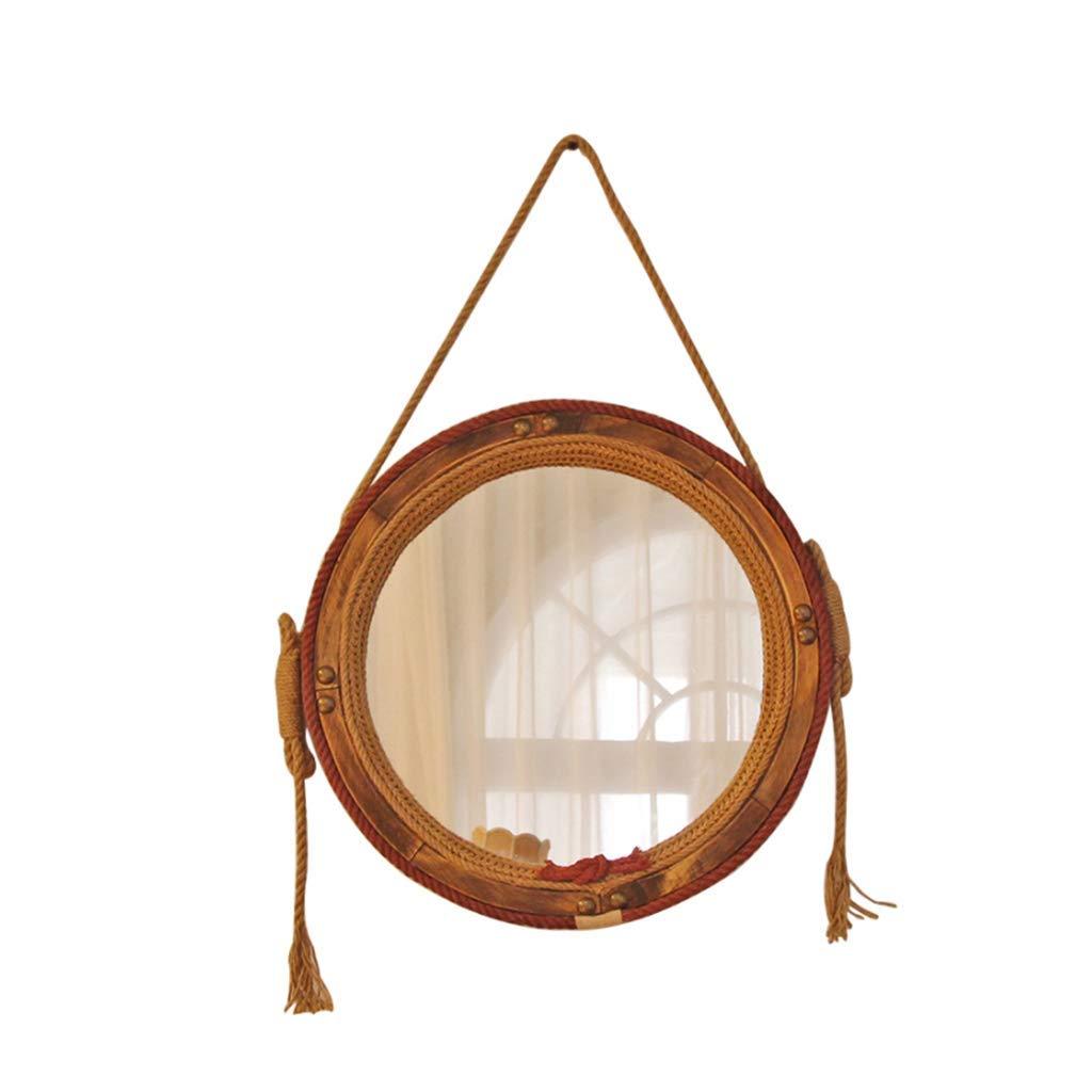 Spiegel Möbel & Wohnaccessoires ỸẼT Opselook Glas Solid Wood Hanf Rope Retro Dekorative Spiegel-Wand Hängen Home Badezimmer-Tisch Einfacher Round Creative Mirror Für Shaving Dressing 54cm