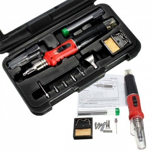Juego de soldador de gas butano 10 en 1 profesional 26 ml kit de soldadura linterna: Amazon.es: Relojes
