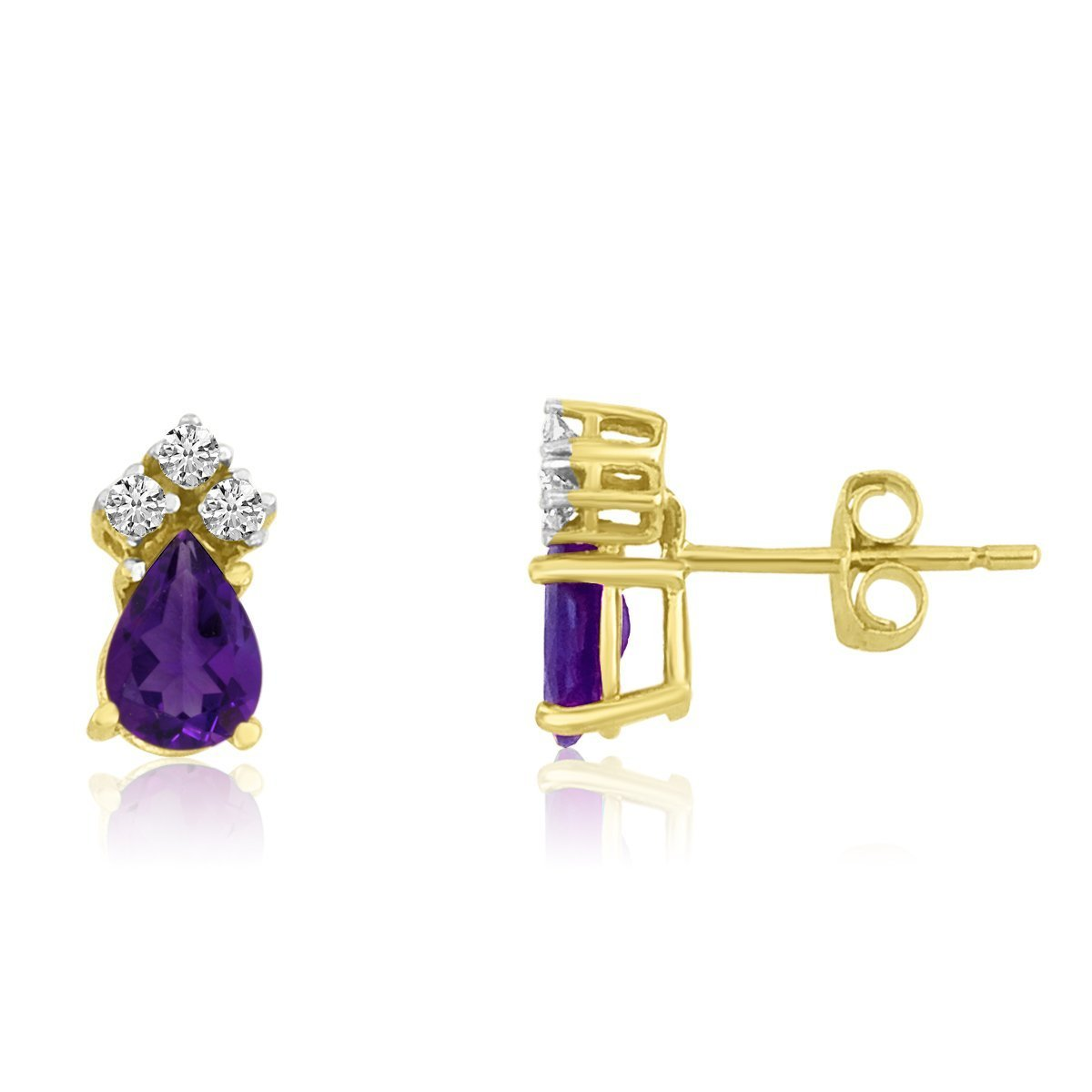 FB Jewels Solid 14k Yellow Gold Studs Pear Gemstone Earrings with Diamonds C08014128