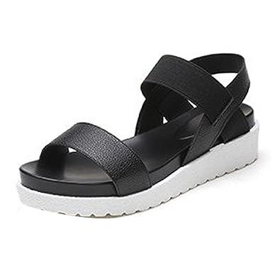 237196bc61b OHQ Muffin Bouche Poisson avec Sandales Confortables pour Femmes Argent Noir  Blanc D éTé Chaussures