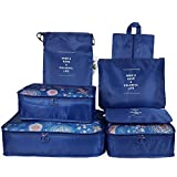 Packing Cubes Travel Organizers Clothes Storage Bags for Luggage Suitcase (7 Pieces, Navy Blue)