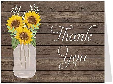 Sunflowers Yellow INSTANT Download Sunflowers Mason Jar Thank You Note 5145 4x6 Mason Jar 1 PDF and 1 JPEG