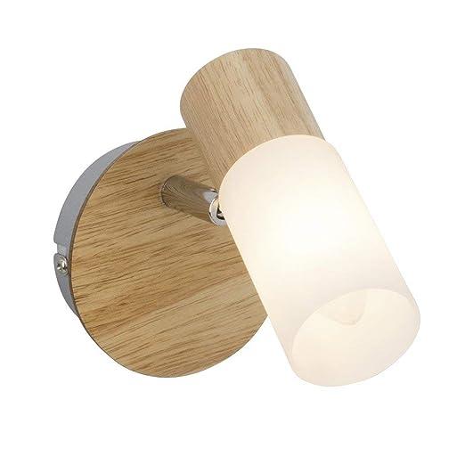 Brilliant 51410/50 babsan foco perchero (madera, metal/madera/plástico, E14, 3 W, claro/blanco