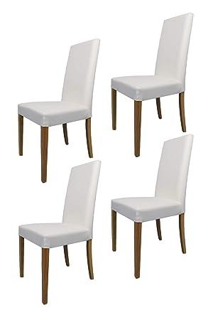 Tommychairs sillas de Elegancia - Set de 4 Sillas GINEVRA de Cocina, Comedor, Bar y Restaurante con Estructura en Madera de Haya Pintado Color Roble y ...