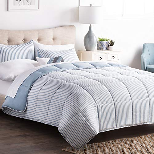 MISC 3 Piece Blue White Nautical Themed Oversized Queen Comforter Set, Chambray Striped Pattern Bedding, Ultra Soft Coastal Ocean Blue Reversible Cozy, ()