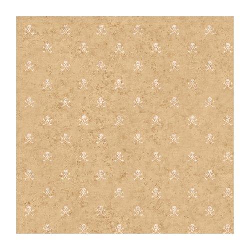 York Wallcoverings BT2822SMP Miniature Skull and Cross Bones 8 X 10 Wallpaper Memo Sample, Cork Gold/Off White
