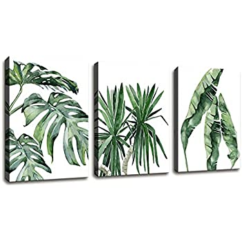 Canvas Wall Art Contemporary Simple Green Leaf Painting Wall Art Decor - 3 Panels Framed Canvas Prints Small Fresh Tropical Plants Watercolor Giclee Ready to Hang Home Decorations Office Decor Gift