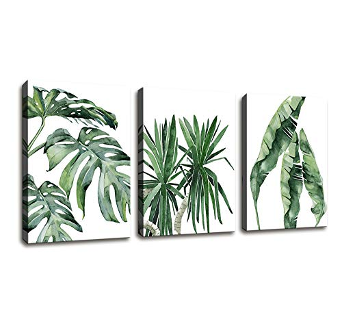 Canvas Wall Art Contemporary Simple Green Leaf Painting Wall Art Decor - 3 Panels Framed Canvas Prints Small Fresh Tropical Plants Watercolor Giclee Ready to Hang Home Decorations Office Decor Gift ()