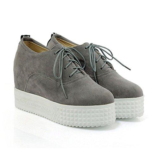 Scarpe tacco coreane alto e Scarpe muffin autunno fondo gray ZHZNVX sandali Aumenta a con qUtATx06