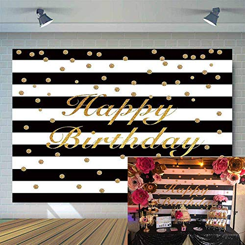 Allenjoy 7x5ft Black and White Stripes with Golden Dots Happy Fabulous Birthday Photography Backdrop Sweet 16 Adults 30th 40th 50th Aged Party Background Event Decoration Banner Photo Studio Props