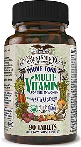 Dr. Benjamin Rush Natural Whole Food Daily Multivitamin for Men & Women All-in-One Non-GMO Superfood Vegetarian - Best for Energy, Brain, Heart and Eye Health. Mens Multivitamin Formula