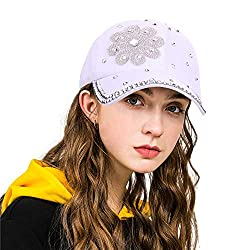 Flower White Studded Rhinestone Crystals Adjustable Baseball Cap