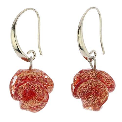 - GlassOfVenice Murano Glass Rose Flower Earrings - Red