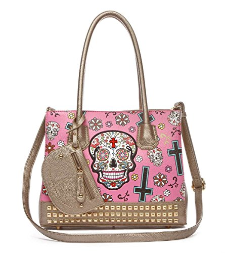 Sugar Skull Purse Day of The Dead Handbag Large Top Handle Satchel Bag with Included Coin Wallet ()