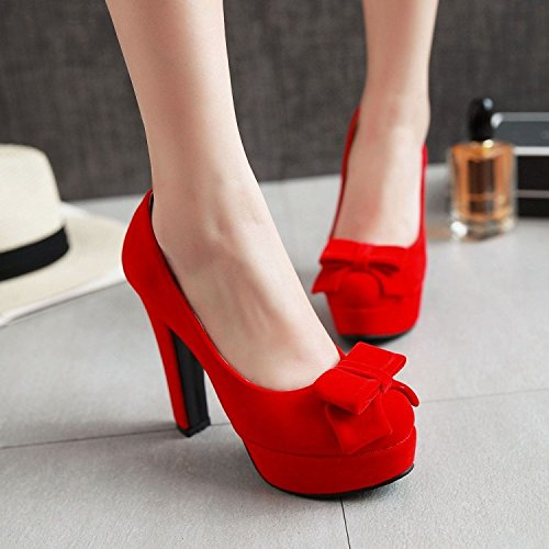 High Superficiale Spesso Damigella Matrimonio Bocca gules Con Heeled Shoes Round Rosso Scarpe Primavera Dolce Scarpe Match Arco KHSKX wSIz0I