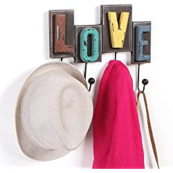 MyGift Multicolored Rustic Finish Wood Love Design Decorative Wall Mounted Coat Rack w/ 4 Metal Hooks