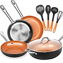 SHINEURI 9 Pieces Nonstick Ceramic Copper Cookware Set - 8/9.5/11 inch Frying Pan Set, 12 inch Wok and Stir Fry Pans with Induction Base & Lid, 4 Piece Set Cooking Utensils - Dishwasher Safe